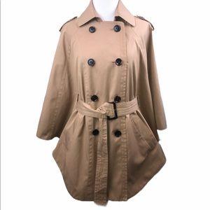 New York & Co Khaki Belted Double Breasted Poncho